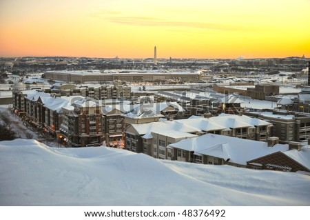 Washington DC skyline and Pentagon building seen after the Historic blizzard 2010