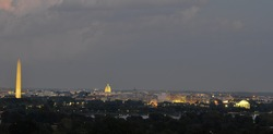 Washington DC skyline at night, including Washington Monument, United States Capitol and Thomas Jefferson Memorial