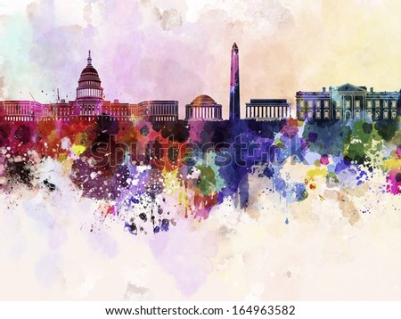 Washington DC skyline in watercolor background