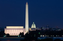 Washington DC skyline including Lincoln Memorial, Washington Monument, and The United States Capitol building
