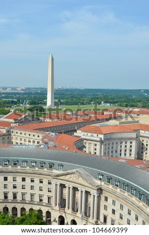 Washington DC, skyline with federal government buildings and the Monument