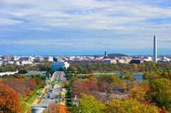 Washington DC skyline with Washington Monument, United States Capitol building, and Potomac River in Autumn