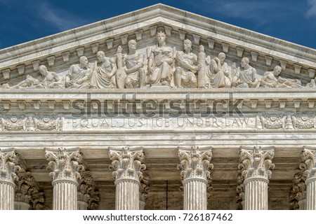 Washington DC Supreme Court facade equal justice under the law on sunny day ストックフォト ©