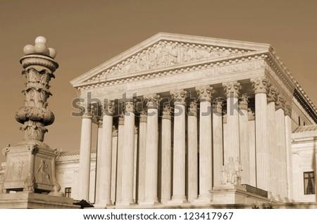 Washington, DC, Supreme Court in  United States of America -sephia
