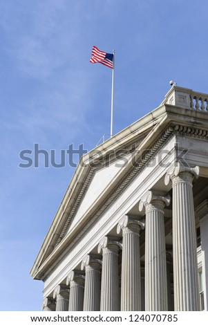 Washington DC - The Treasury Department Building entrance detail