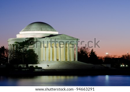 Washington DC, Thomas Jefferson Memorial at sunset - United States