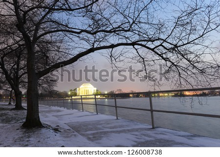 Washington DC, Thomas Jefferson Memorial in a snowy winter evening