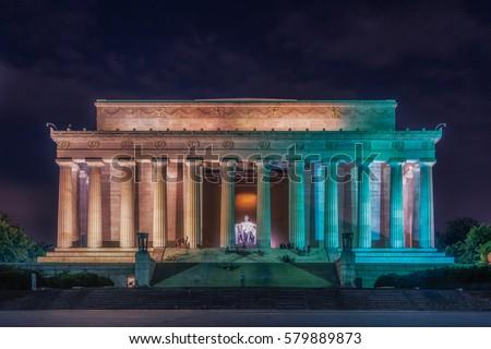 Washington DC, United States: Abraham Lincoln Memorial at night Stock photo ©