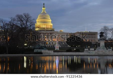 Washington DC, United States Capitol Building with Christmas Tree in sunrise