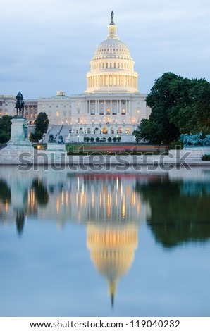 Washington DC, US Capitol Building and mirror reflection