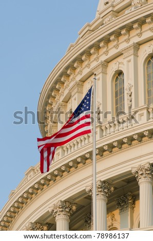 Washington DC - US Capitol building detail with US flag