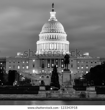 Washington DC, US Capitol Building in a cloudy day - Black and White