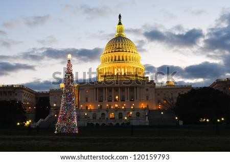 Washington DC, US Capitol Building with Christmas Tree at sunrise
