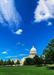 Washington DC USA Capitol Building Over Blue Sky