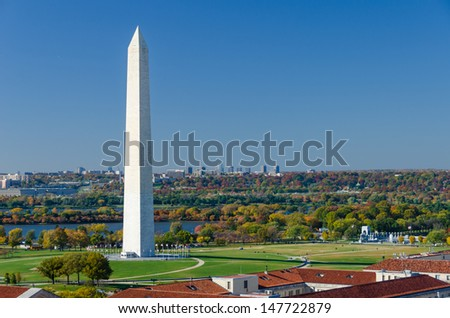 Washington DC - Washington Monument aerial view in beautiful autumn colors