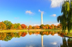 Washington DC - Washington Monument as seen from Constitution Gardens in Autumn