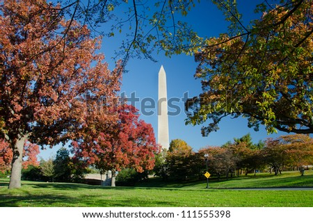 Washington DC, Washington Monument in autumn - stock photo