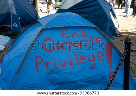 WASHINGTON, JAN. 30 – A tent at the Occupy DC site in Washington, DC. on January 30, 2012, the date on which police threatened to enforce a no-camping rule.