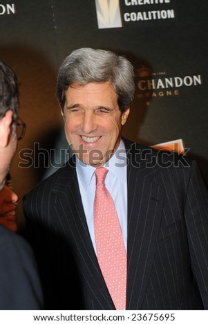 WASHINGTON - JANUARY 19: U.S. Senator John Kerry smiles as he arrives for the Creative Coalition dinner on behalf of the presidential inauguration on January 19, 2009 in Washington.