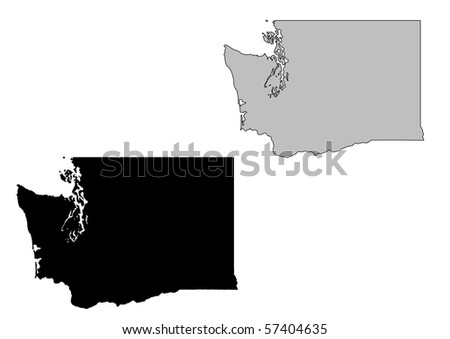Washington map. Black and white. Mercator projection. - stock photo