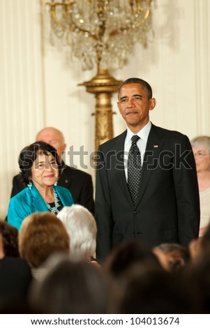 WASHINGTON - MAY 29: Civil rights and women's advocate, Dolores Huerta, waits to receive the Presidential Medal of Freedom at a ceremony at the White House May 29, 2012 in Washington, D.C.