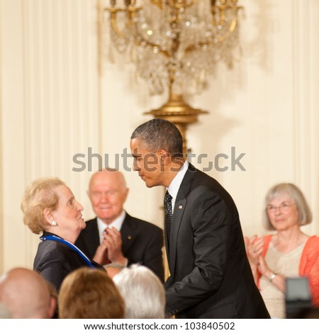 WASHINGTON - MAY 29: Former Secretary of State Madelieine Albright is awarded the Presidential Medal of Freedom by President Barack Obama at the White House May 29, 2012 in Washington, D.C.