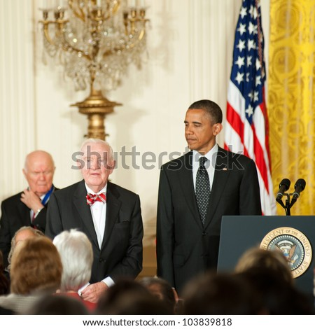 WASHINGTON - MAY 29: Former U.S. Supreme Court Justice John Paul Stevens waits next to President Obama to receive the Presidential Medal of Freedom at a ceremony at the White House May 29, 2012 in Washington, D.C.