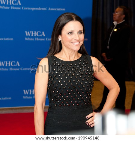 WASHINGTON MAY 3 -�� Julia Louis-Dreyfus arrives at the White House Correspondents� Association Dinner May 3, 2014 in Washington, DC