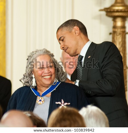 WASHINGTON - MAY 29: Novelist Toni Morrison smiles as she is presented with a Presidential Medal of Freedom at a ceremony at the White House May 29, 2012 in Washington, D.C.