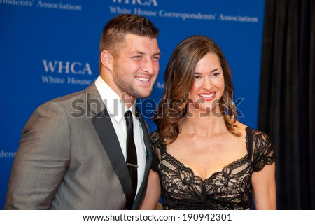 WASHINGTON MAY 3 -�� Tim Tebow arrives at the White House Correspondents� Association Dinner May 3, 2014 in Washington, DC