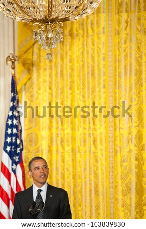 WASHINGTON - MAY 29: US President Barack Obama speaks at the Presidential Medal of Freedom ceremony at the White House May 29, 2012 in Washington, D.C.