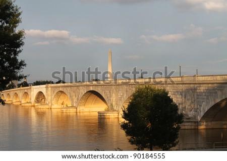 Washington Monument and Arlington Memorial Bridge on Potomac River Washington DC
