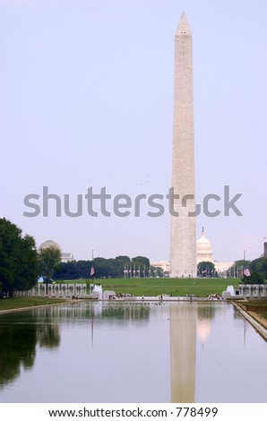 Washington monument and Capitol reflected in a pool just before sunset  (USA) - stock photo