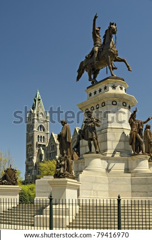 Washington Monument and Old City Hall Capital Square Richmond Virginia