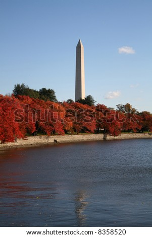 Washington Monument and tidal pool in autumn Washington DC