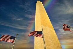 Washington Monument at sunset after rain, Washington DC