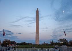 Washington Monument behind the Fountain at the World War II Memorial, Washington D.C.