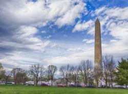 Washington Monument during cherry blossom. Washington DC 2016. HDR