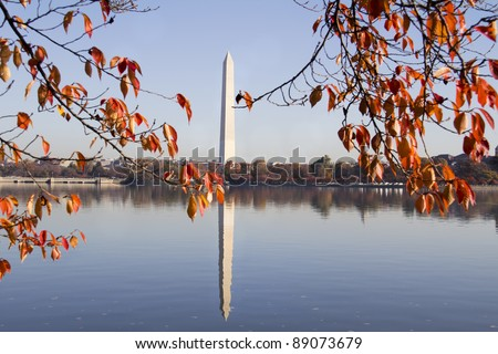Washington Monument in autumn, Washington DC