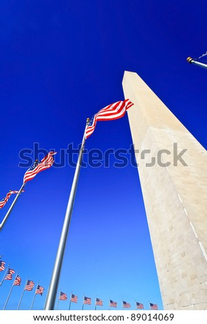 Washington Monument in Washington DC with flapping american flags on the flagpoles