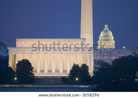 Washington Monument Mall Lincoln Capitol Night DC travel series 33