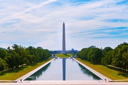 Washington Monument morning reflecting pool in US USA