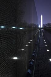 Washington Monument Vietnam Memorial Night The Wall Washington DC