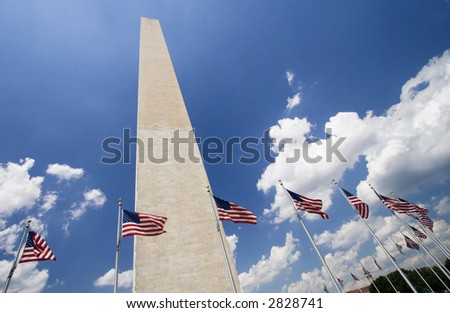 Washington Monument with flags