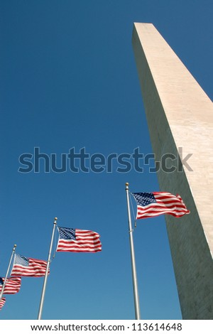 Washington Monument with Flags Flying, Washington, DC, USA