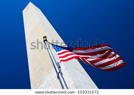 Washington Monument with flapping american flag, Washington DC