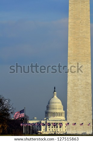 Washington Monument with US Capitol Building in Background