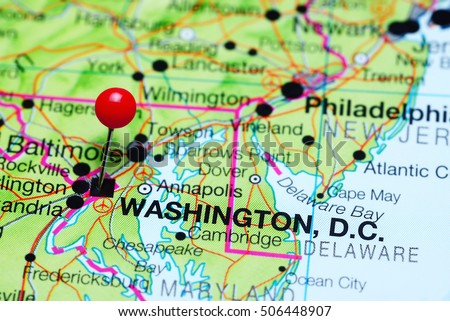 Washington pinned on a map of USA