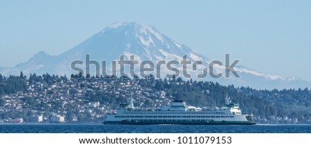 Washington State Ferry, Wenatchee, in front of West Seattle and Mount Rainier.