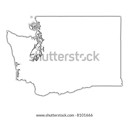 Washington (USA) outline map with shadow. Detailed, Mercator projection.